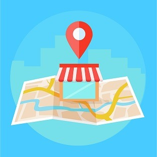 Local seo banner, Map and shop in realistic view
